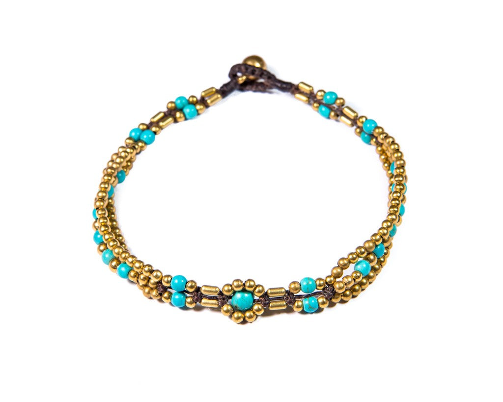 Anklet  -  Brass & Turquoise Anklet - boom-ibiza