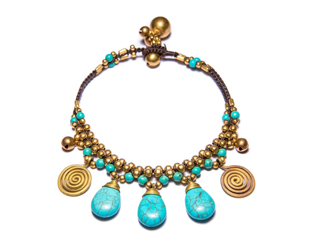 Anklet  -  Braided Brass Bells & Turquoise Anklet