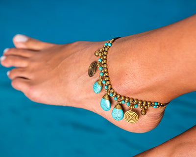 Anklet  -  Braided Brass Bells & Turquoise Anklet - boom-ibiza