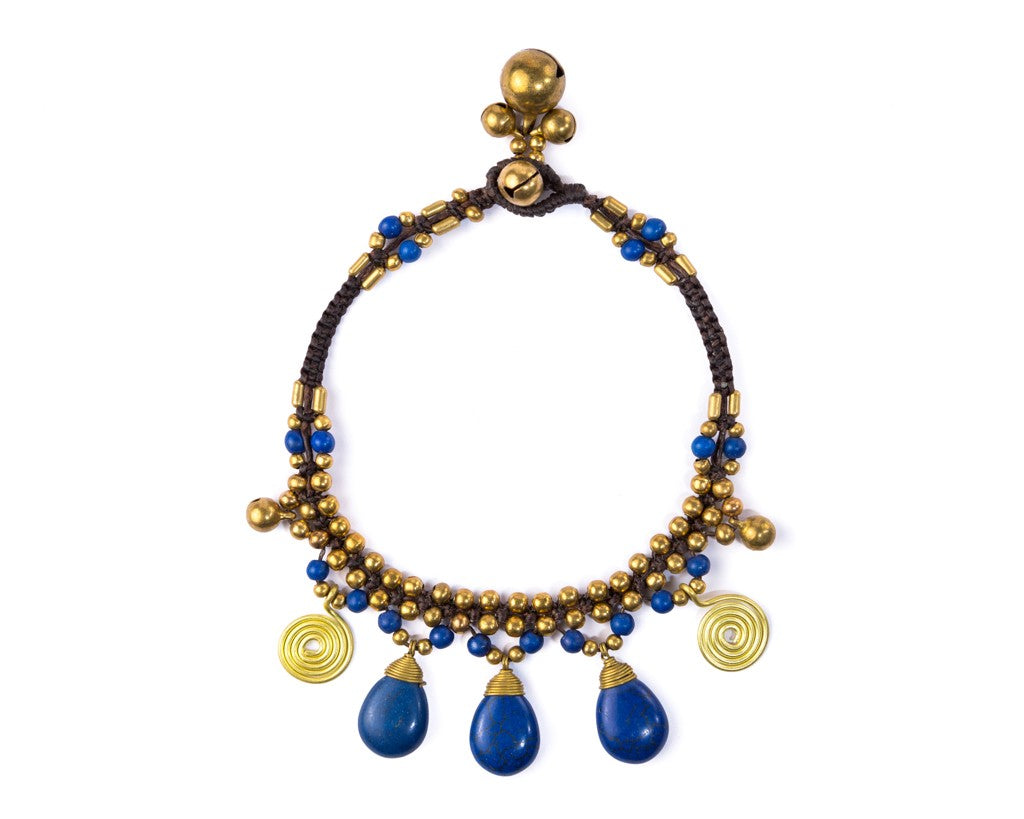 Anklet  -  Braided Brass Bells & Blue Anklet