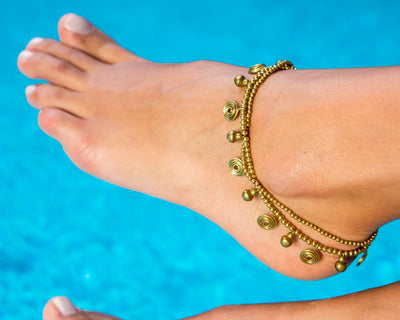 Anklet  -  Braided Brass Bells & Beads