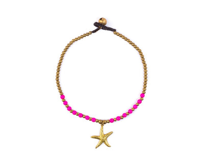 Anklet  - Brass Pink Anklet Sea-Star Charm - boom-ibiza