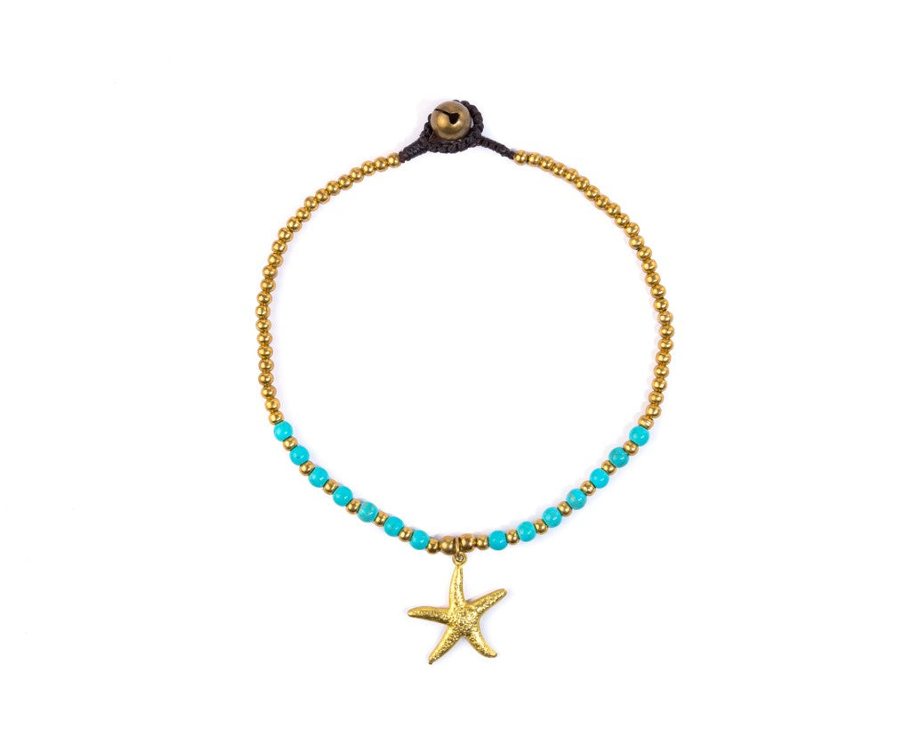 Anklet  - Brass & Turquoise Anklet Sea-Star Charm - boom-ibiza