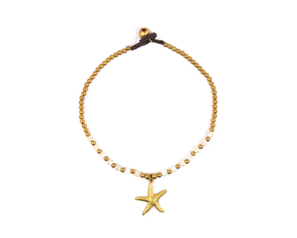 Anklet  - Brass & White Anklet Sea-Star Charm