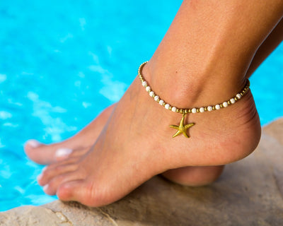 Anklet  - Brass & White Anklet Sea-Star Charm - boom-ibiza