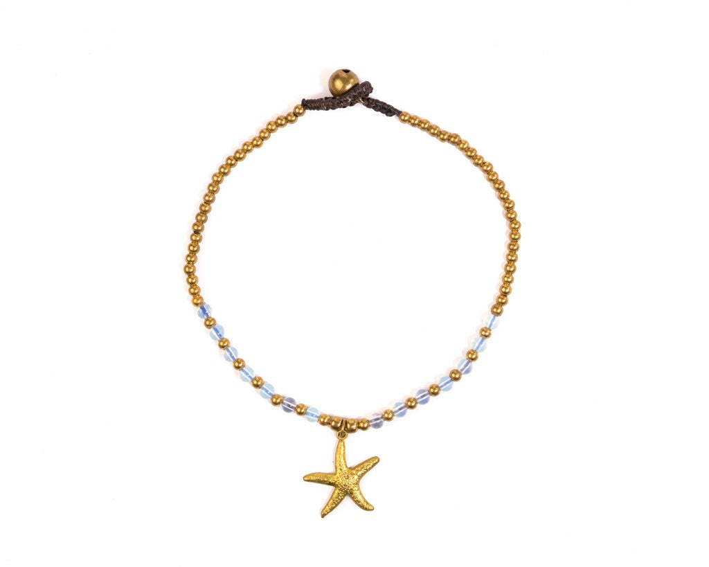 Anklet - Brass & Clear Anklet Sea-Star Charm
