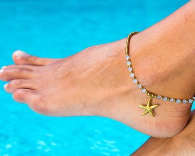 Anklet - Brass & Clear Anklet Sea-Star Charm - boom-ibiza