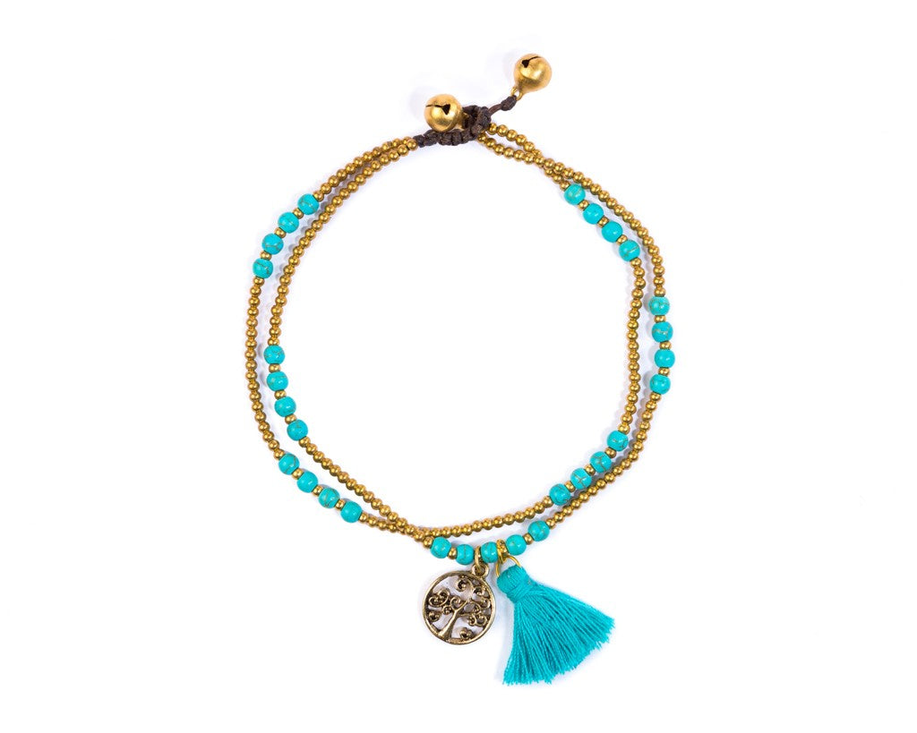 Anklet  -  Tree Of life Turquoise