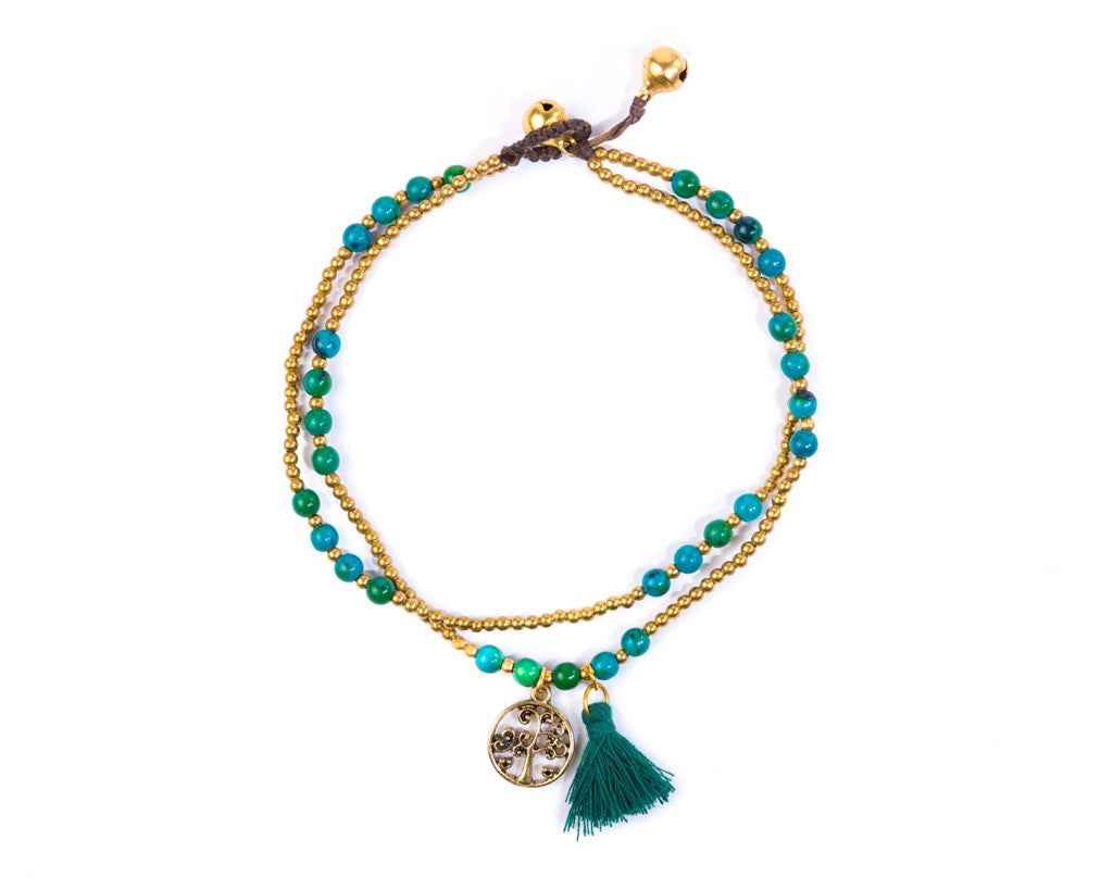 Anklet  -  Tree Of life Green - boom-ibiza