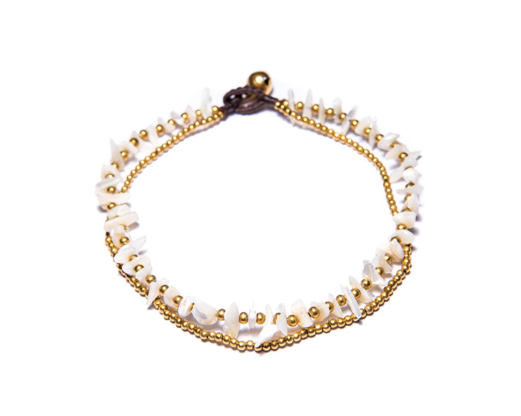 Anklet  -  Brass & White Agate Chip Anklet - boom-ibiza