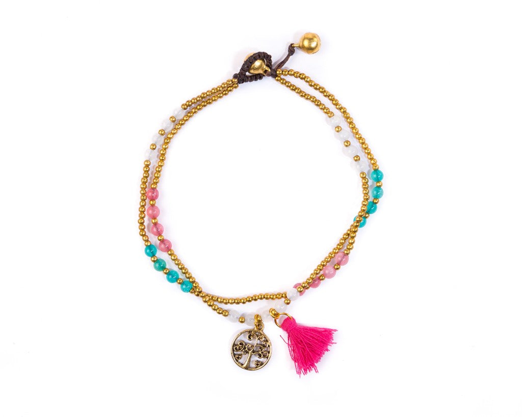 Anklet  -  Tree Of Life Pink - boom-ibiza