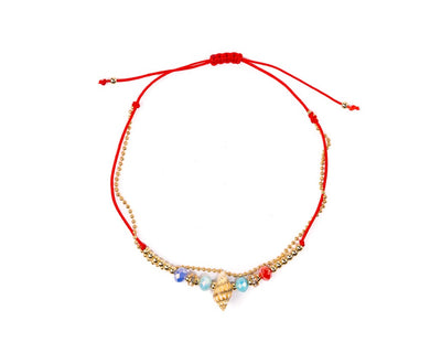Anklet - Double Strand Red Seashell Anklet - boom-ibiza