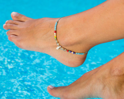 Anklet - Blue String Anklet Seashell Charm - boom-ibiza