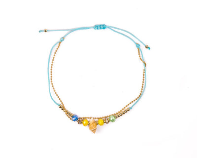 Anklet - Double Strand Blue Seashell Anklet - boom-ibiza