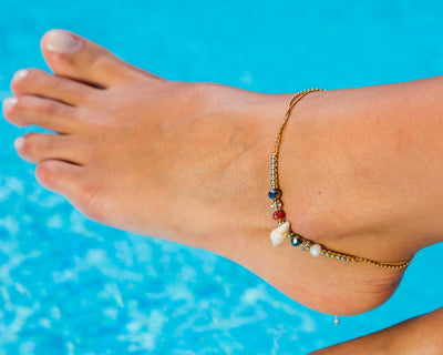 Anklet - Double Strand Brown Seashell Anklet - boom-ibiza