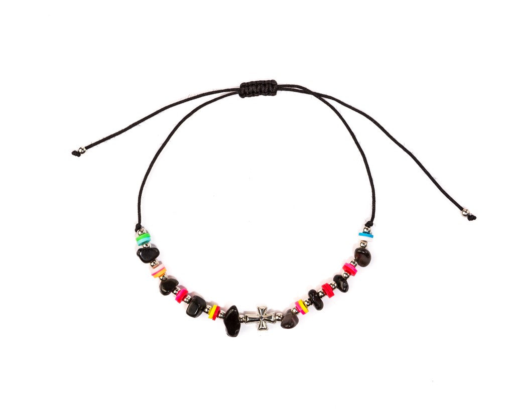 Anklet - Black String Cross Anklet - boom-ibiza