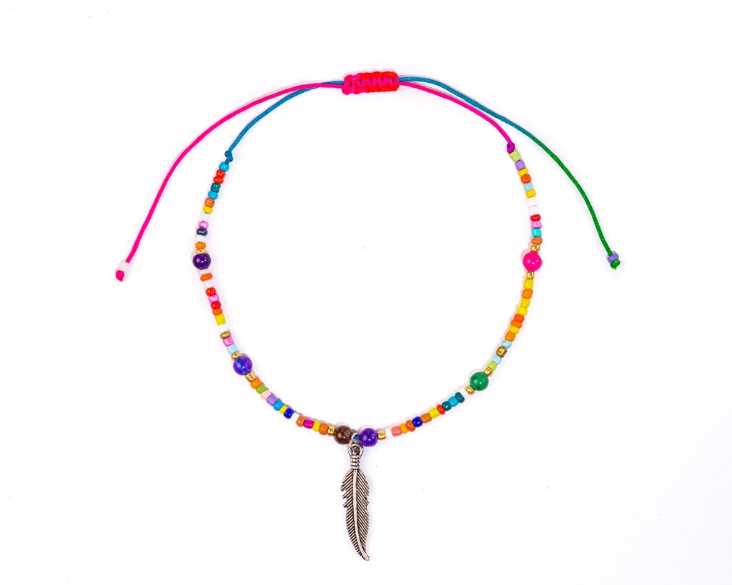 Anklet  - Rainbow String Cord Feather Charm