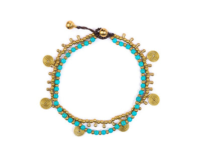 Anklet - Double strand Brass & Turquoise Anklet - boom-ibiza