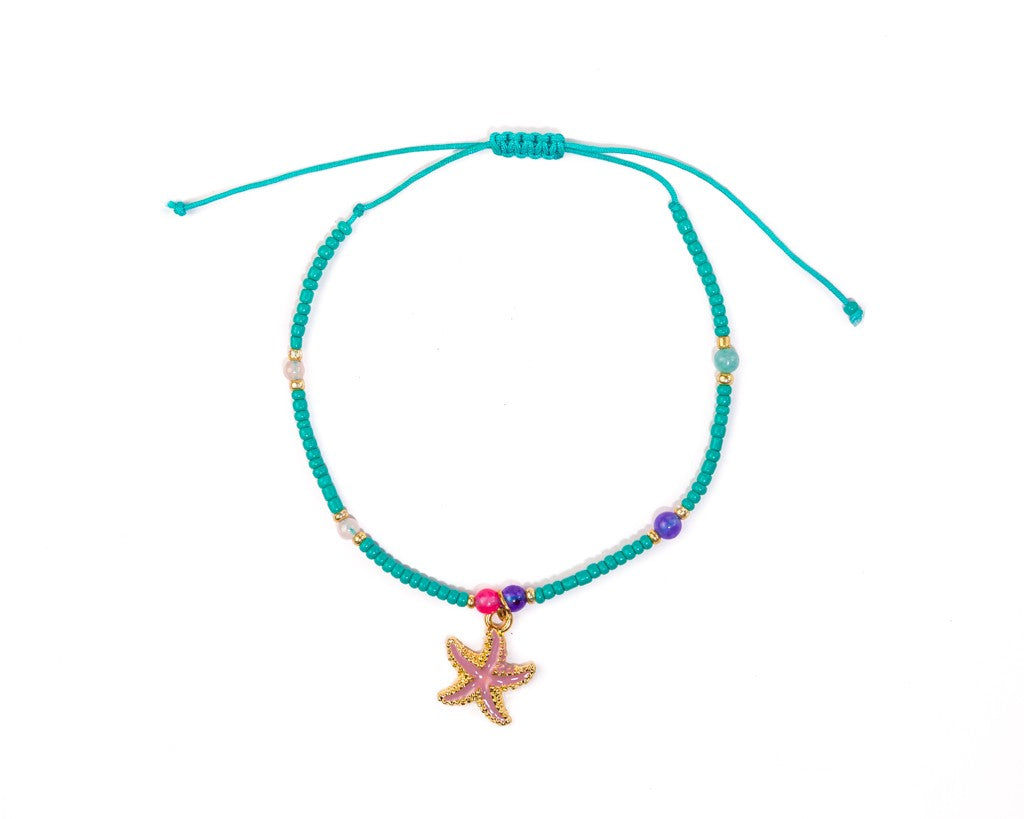 Anklet  -  Turquoise String Cord Sea-Star Charm