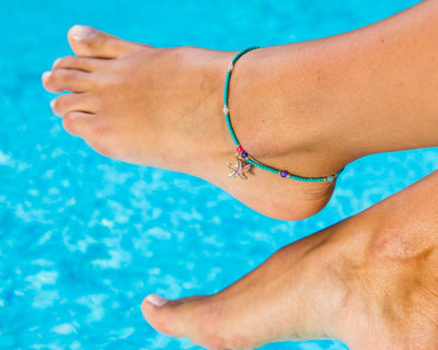 Anklet  -  Turquoise String Cord Sea-Star Charm - boom-ibiza