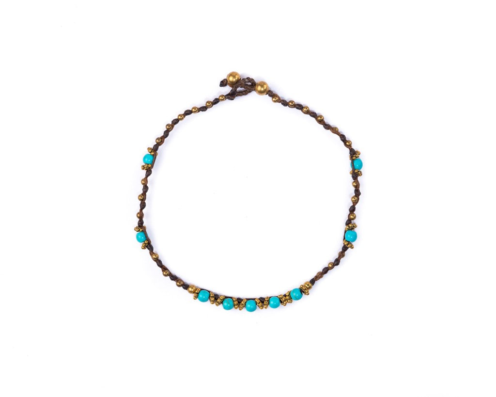Anklet - Minimal Brass & Turquoise Anklet - boom-ibiza