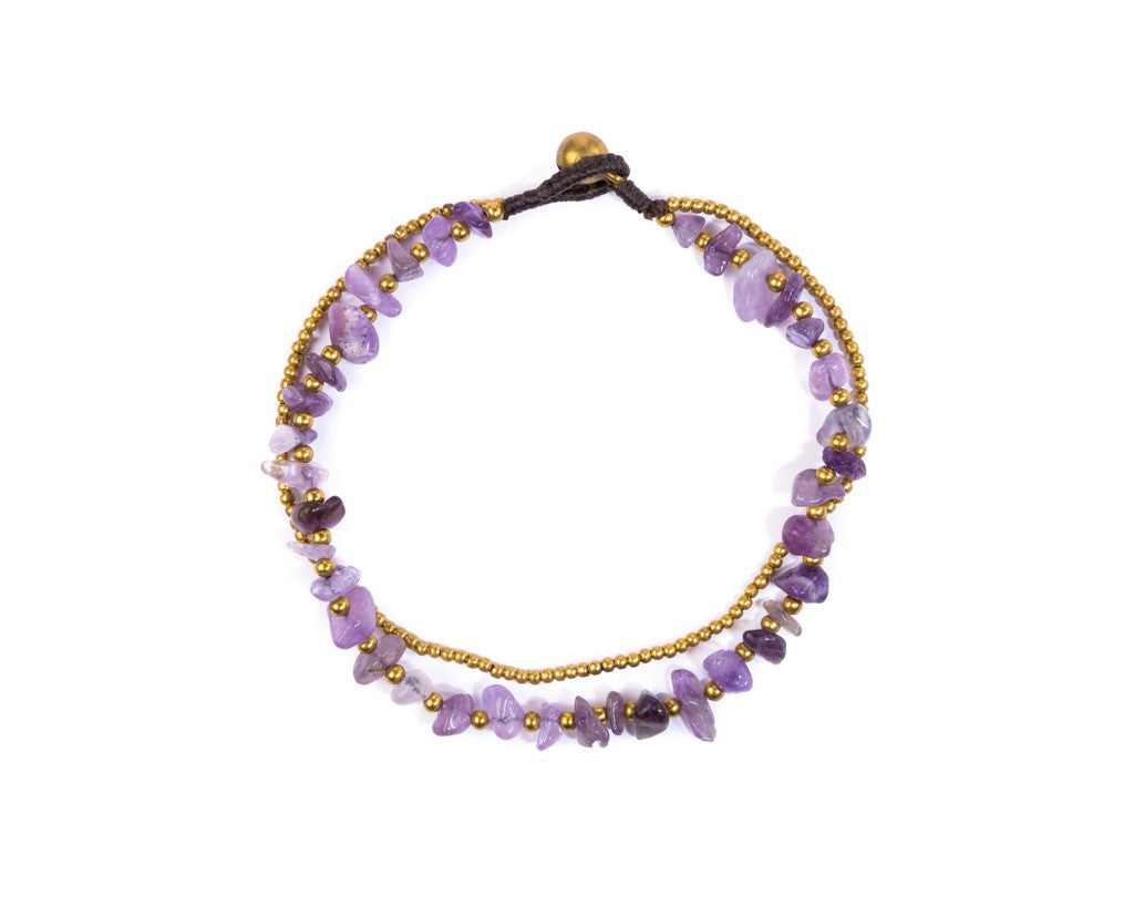 Anklet  -  Brass & Amethyst Anklet - boom-ibiza