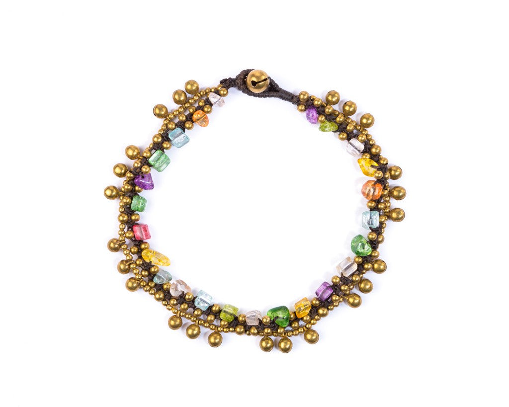 Anklet  -  Brass & Colorful Bells Anklet