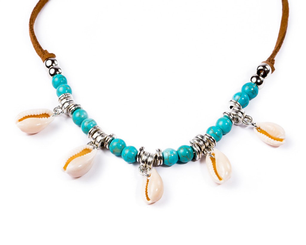 turquoise necklace sea shells