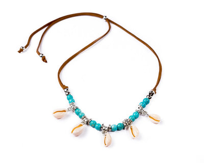 turquoise necklace sea shells - boom-ibiza