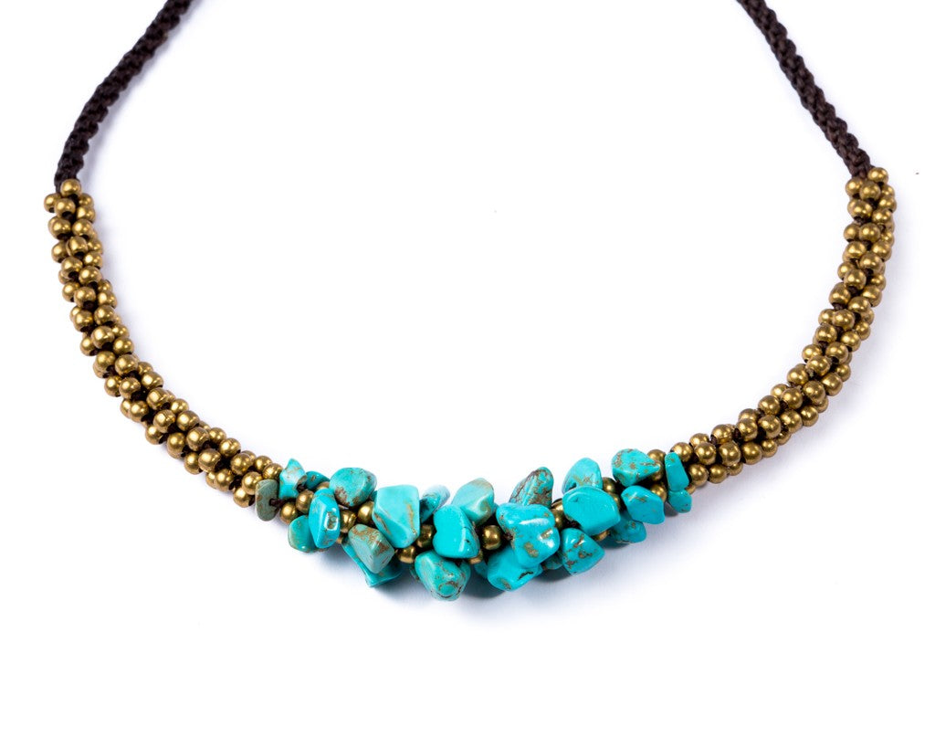 Chunky Turquoise Necklace with Brass Balls