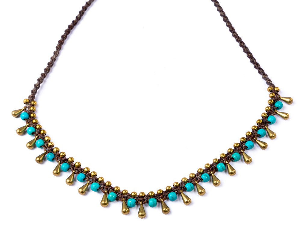 Brass Pins Turquoise Necklace