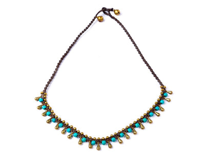Brass Pins Turquoise Necklace - boom-ibiza
