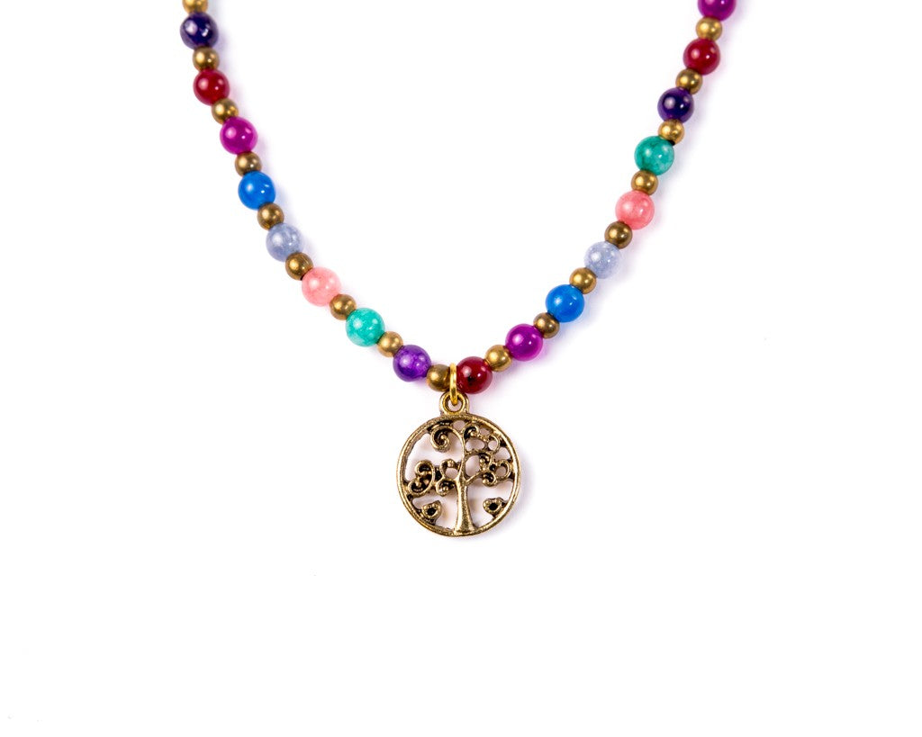tree of life necklace rainbow