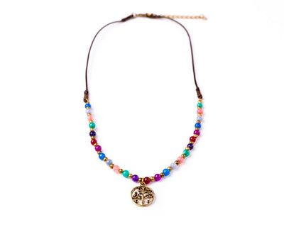 tree of life necklace rainbow - boom-ibiza