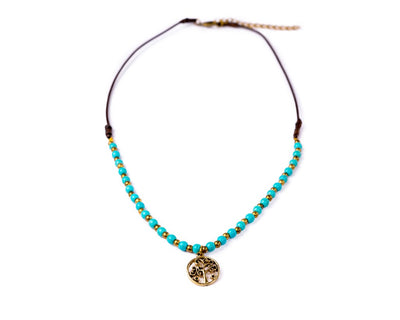tree of life necklace turquoise - boom-ibiza
