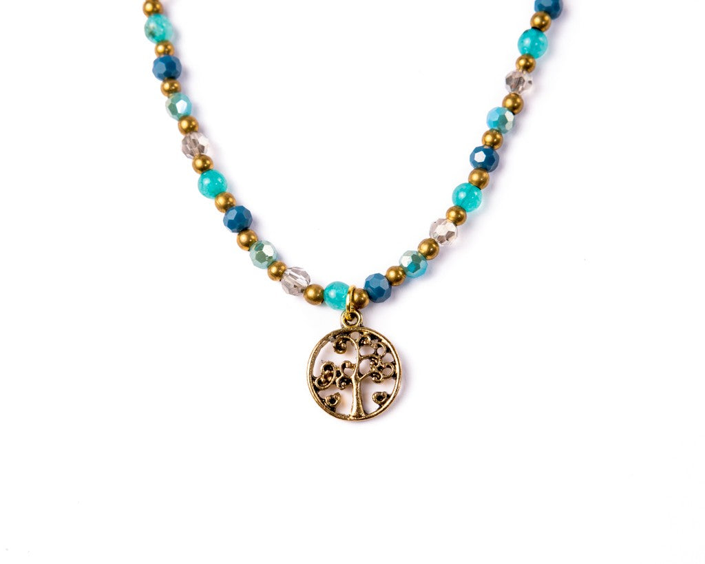 tree of life necklace blue ocean - boom-ibiza