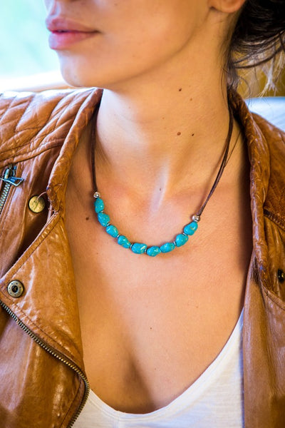 turquoise necklace round Pebbles - boom-ibiza
