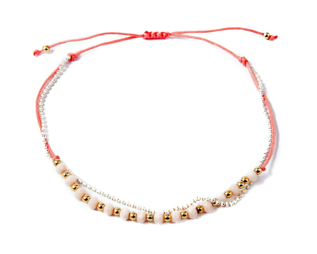 Anklet  - White Briolette Double Cord