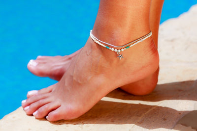 Anklet  - Double Strand White Sea-Star Charm