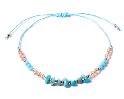 Anklet  -  String Cord Turquoise Anklet - boom-ibiza