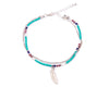 Anklet  - Double Strand Turquoise Feather Charm