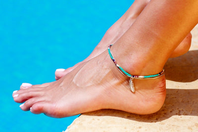 Anklet  - Double Strand Turquoise Feather Charm - boom-ibiza