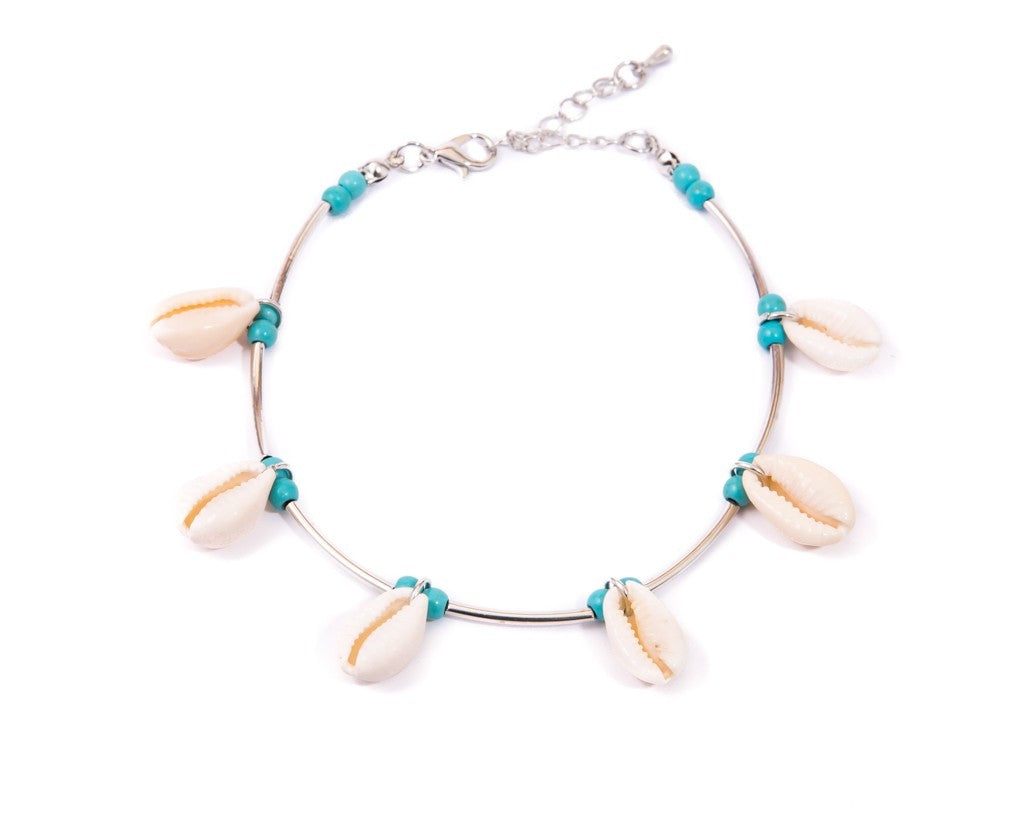 Anklet  - Metal Cord Turquoise Seashell - boom-ibiza
