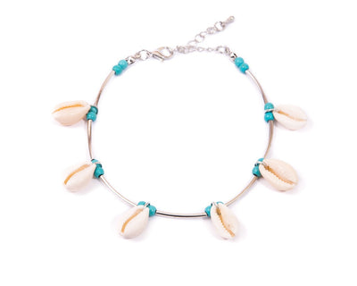 Anklet  - Metal Cord Turquoise Seashell