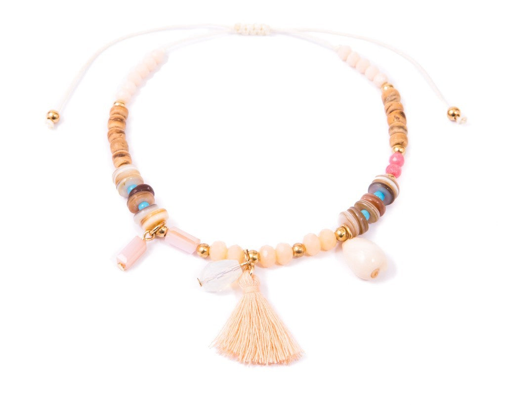 Anklet  -  String Cord Sea-Sand Wooden Beads