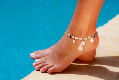 Anklet  -  String Cord Sea-Sand Wooden Beads - boom-ibiza