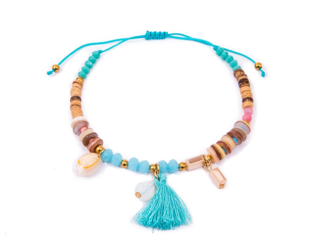 Anklet  -  String Cord Deep-Sea Wooden Beads