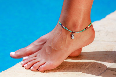 Anklet  - Double Strand Turquoise Pineapple Charm - boom-ibiza