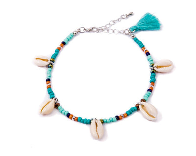 Anklet  - Turquoise Beads Seashell - boom-ibiza