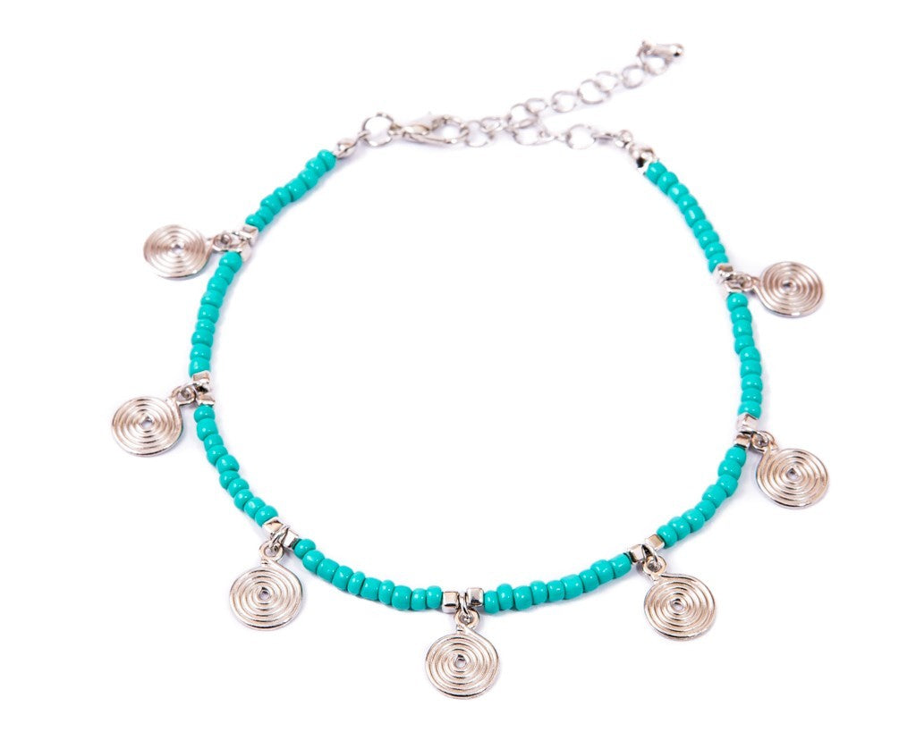 Anklet  - Turquoise Beads Spiral Charms